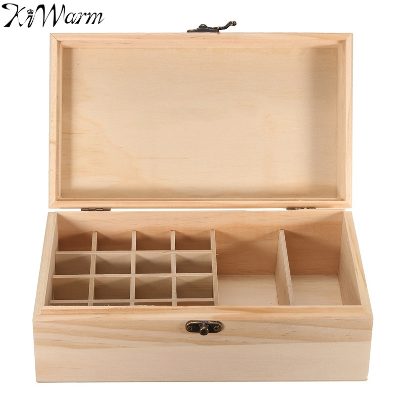 Kiwarm Modern 18 Grid Essential Oil Wooden Box Bottles Aromatherapy Container Case Holder For Home Craft Gift Ornament For Gril