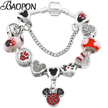 BAOPON Silver Snake Chain Charm Bracelet With Mickey Enamel Beads Pandora Bracelets & Bangle For Women Kids Jewelry Dropshipping(China)