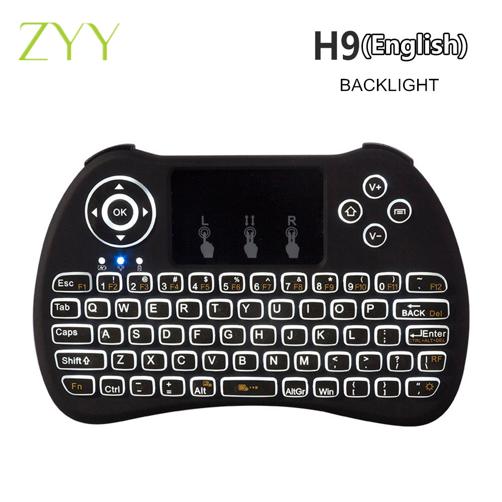 H9 Mini Hand-held Backlight Keyboard Air Mouse Wireless QWERTY Combo Remote Control Built-in Lithium Battery For PC Laptop TV 3 7v lithium polymer battery 051 230 501 230 iron general remote control bluetooth headset wireless mouse
