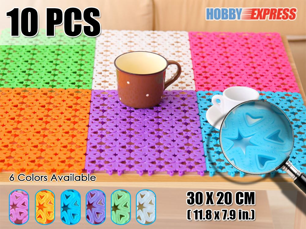 New 10 Pcs Heart Pattern Indoor Outdoor Plastic Floor Mat Tiles