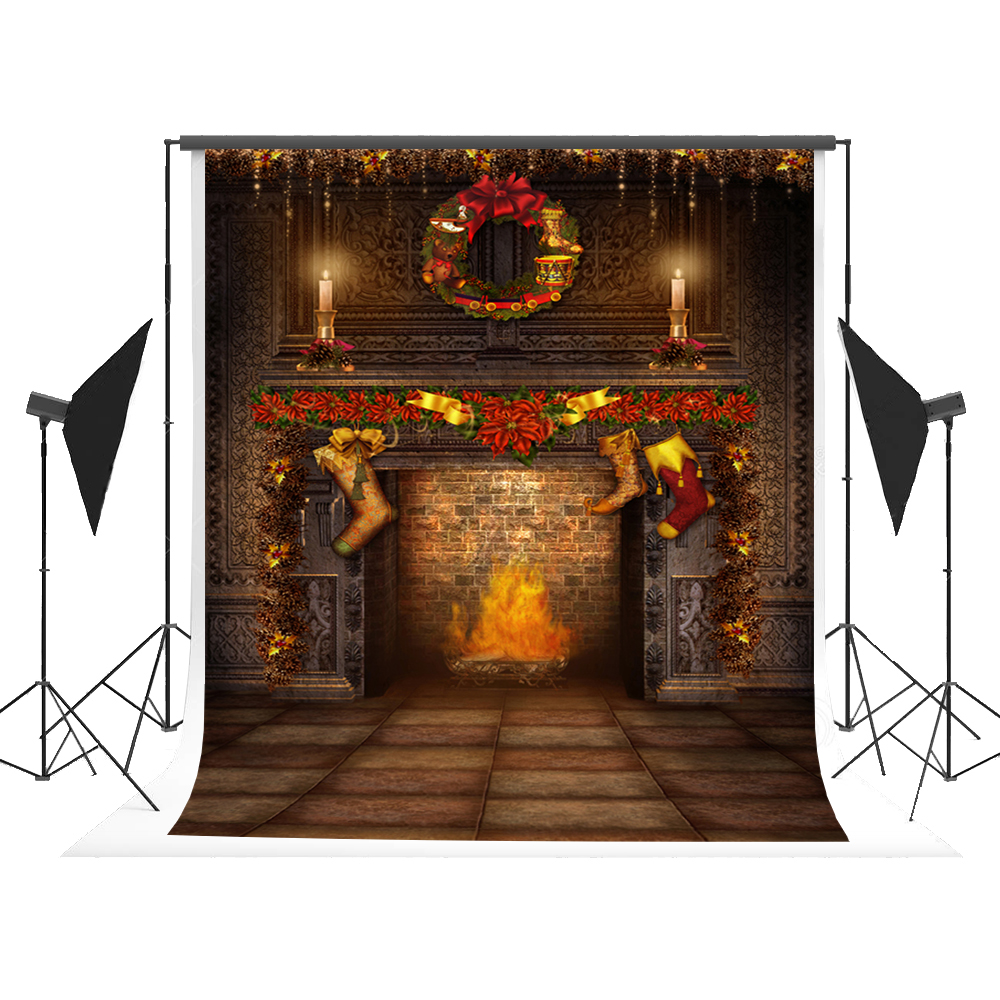 5x7ft Backdrop for Photography Christmas Photographic Background Fireplace Light Foto for X-mas Fond Studio Photoshoot Kate