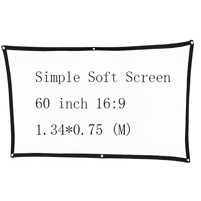 Thinyou Thinyou Simple Soft Projector Screen 60 inch 16:9 Matt White Screen  for Home theater Travel Support LED Projector