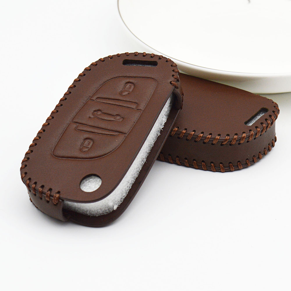 Leather Car <font><b>Key</b></font> Case Cover For <font><b>Peugeot</b></font> boxer 5008 508 308 2008 Expert 407 107 307 301 206 <font><b>208</b></font> 807 <font><b>Key</b></font> Fob Ring Shell Accessories image
