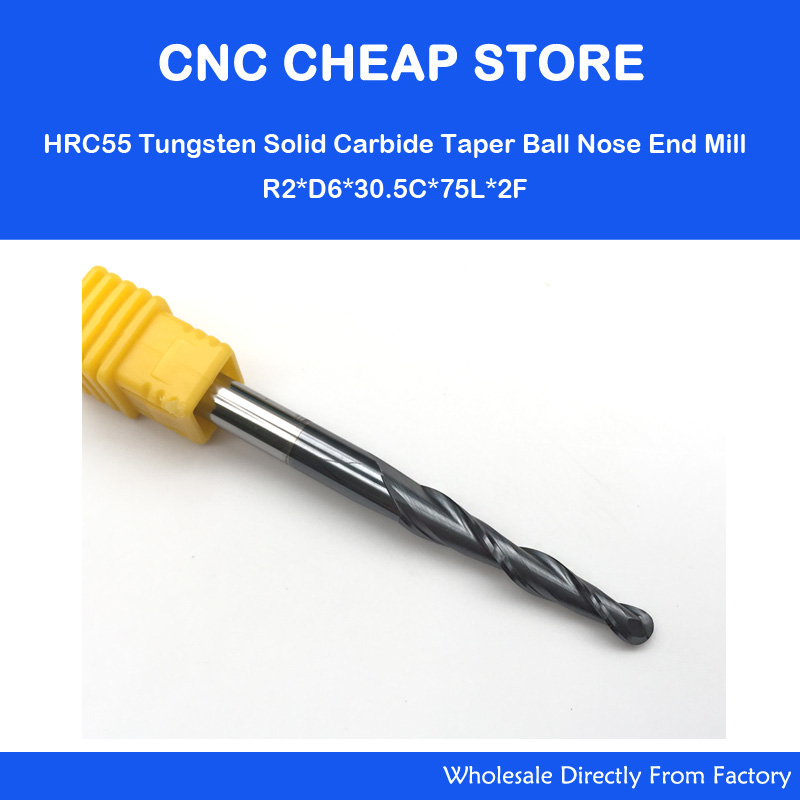 2PCS R2.0*D6*30.5*75L*2F HRC55 Two flute Tungsten solid carbide NANO Coated Tapered Ball Nose End Mills,taper and cone Bits,wood 2pcs lot h si coated r0 25 d6 30 5 75l 2f solid carbide 6mm ball nose tapered end mills router bits cnc taper wood metal milling