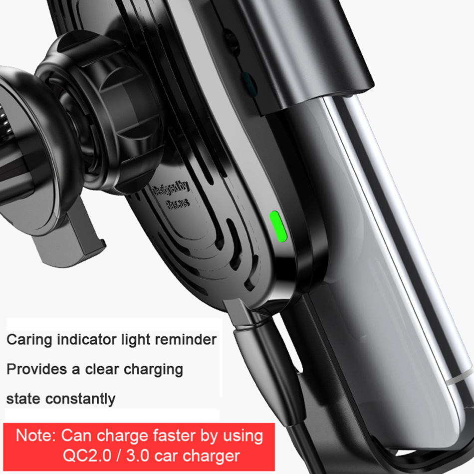 Baseus 10W Qi Car Wireless Charger For iPhone XS Max Quick Charge Fast Wireless Charging Car Holder Stand For Samsung S8 5