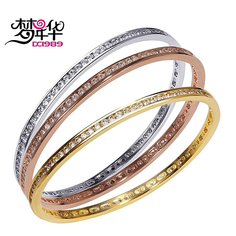 DreamCarnival1989 Round Luxury Bracelet Bangle for Women Pulseira Feminina 3 Sizes Rhodium Rose Gold Colors Engagement