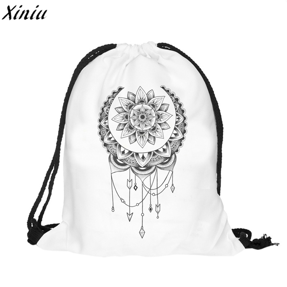 Hot Sale College Students School Backpacks 3D Printing Bags Drawstring Backpack Girls Mochila Feminina Sack Beach Bag