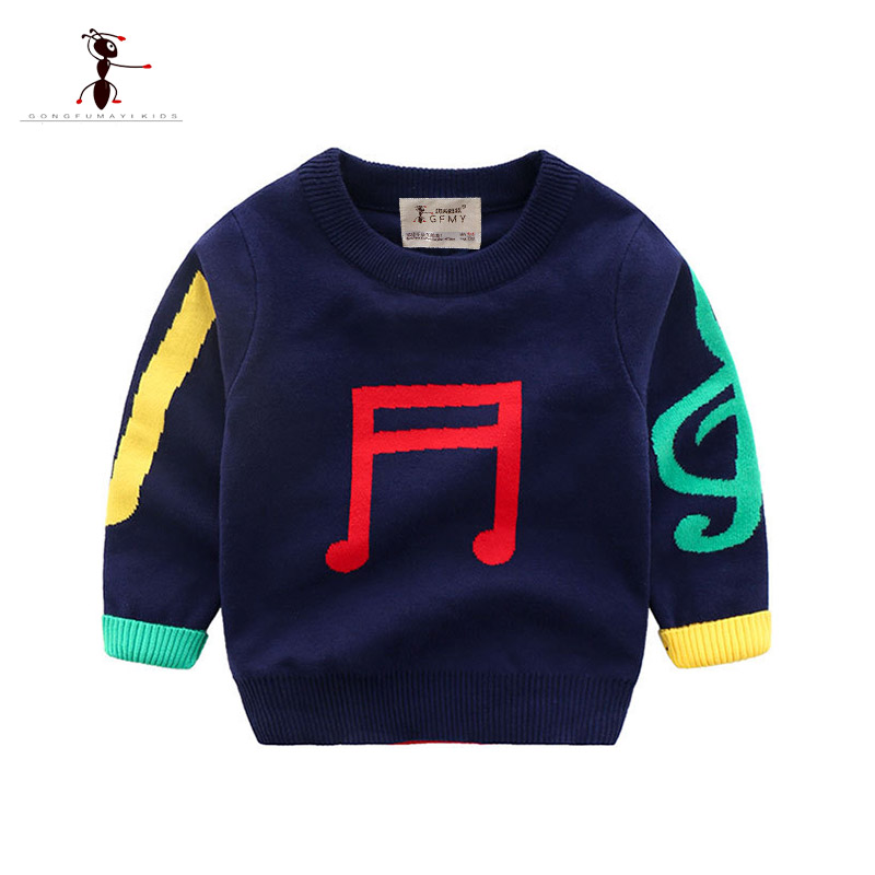 2018 Autumn Winter O-Neck Cotton Boys Sweater Children's Clothing Pullover Casual Baby Sweater Print Baby Sweater 24M Baby Tops geometric crew neck space dyed sweater
