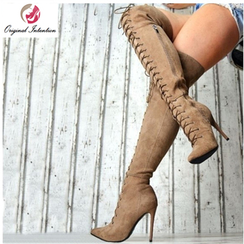 Original Intention Women Thigh High Over-the-knee Boots Winter High Heels Sexy Pointed Toe Boots Plus Size Cross-tied Shoes New original intention super sexy women sandals thigh high cut outs open toe thin heels sandals gold shoes woman plus us size 4 15