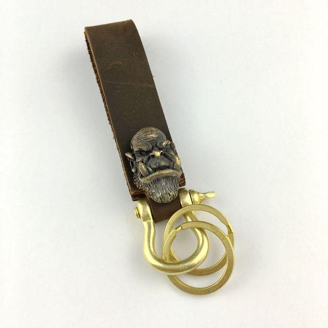 Nuevo 2017 hecho a mano de cobre de cuero genuino llavero anime llavero anillo titular hombres baratija regalo de la novedad de la vendimia steampunk
