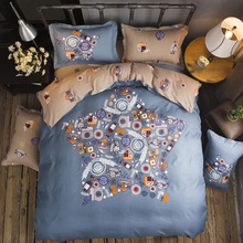 Home textile bedding set feather king blue duvet cover bed sheet queen full modren adult grid stripe five size