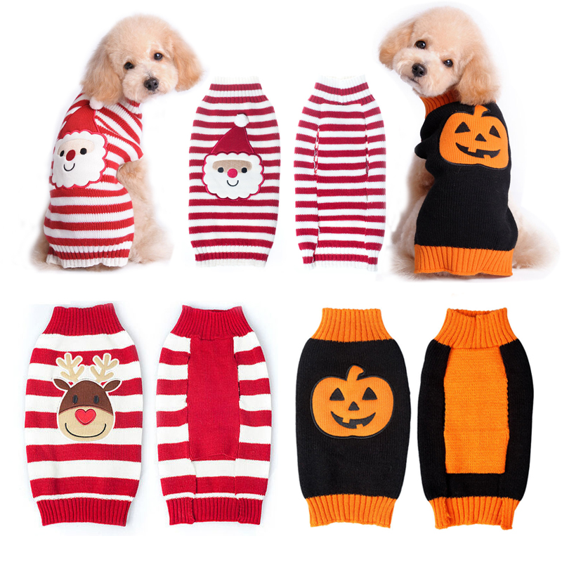 dog christmas sweater reindeersanta clauspumpkin festival winter warm knit clothes for dogs chihuahua pet apparel costume in dog sweaters from home