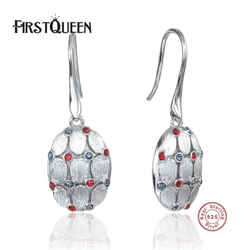 FirstQueen Earrings Fine Jewelry Female Earrings Jewelry with Nature Stone Earrings 925 Sterling Silver Jewelry