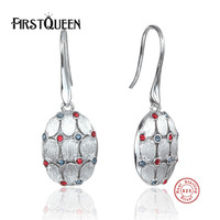 FirstQueen Earrings Fine Jewelry Female Earrings Jewelry with Nature Stone Earrings 925 Sterling Silver Jewelry