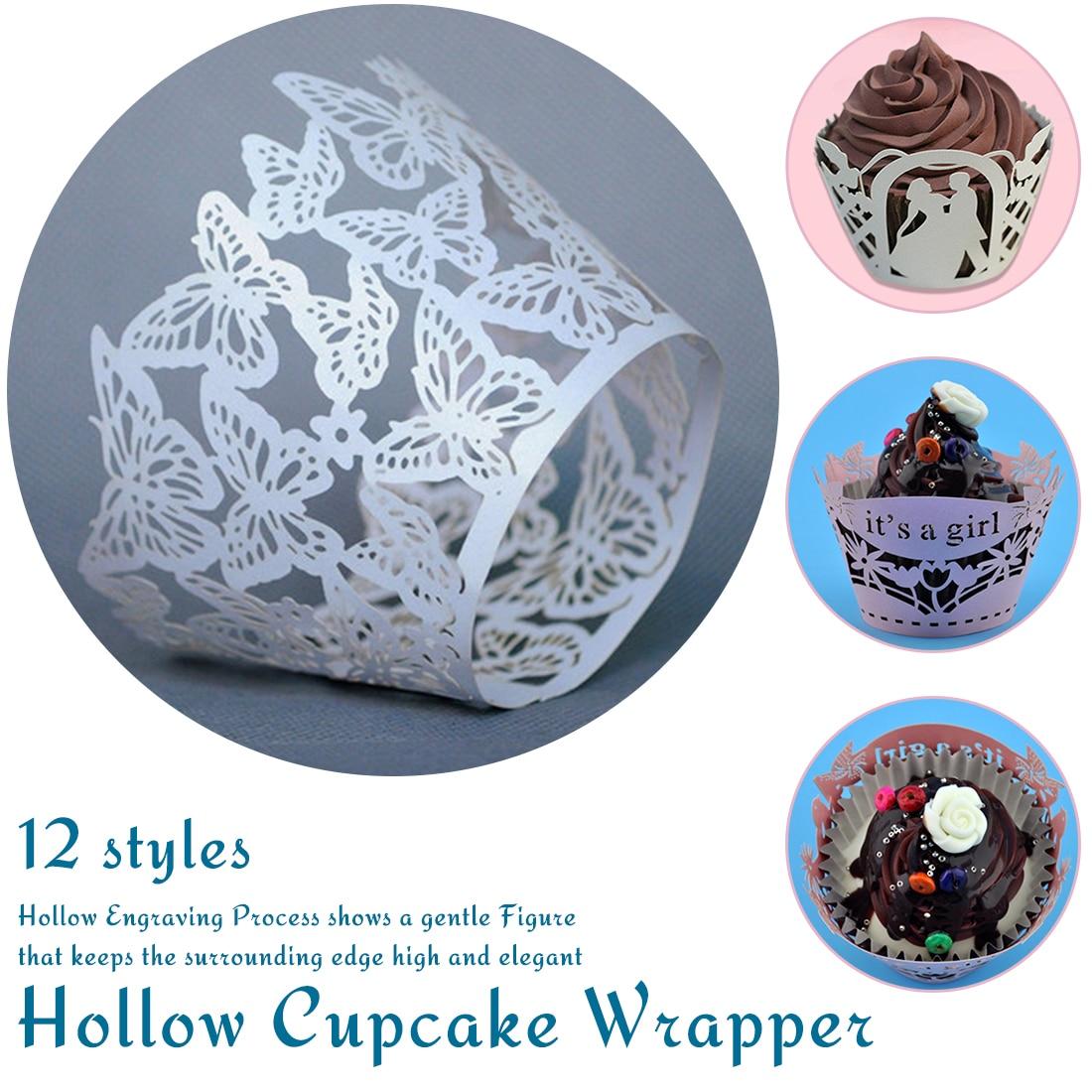 12pcs Pink Princess Crown  Laser Cut Vine Lace Wraps Birthday Party Cupcake Wrapper Decor Case