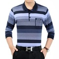 Burrima Autumn New Mens Polo Shirts Striped Camisa Long Sleeves Pockets Plus Size Fitness barcelona jersey air force one