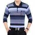 Burrima outono nova mens polo camisas camisa listrada de mangas compridas pockets plus size aptidão camisa barcelona air force one