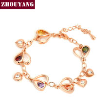 ZHOUYANG Top Quality ZYH015 Heart Rose Gold Color Bracelet Jewelry Genuine Austrian Crystal Wholesale