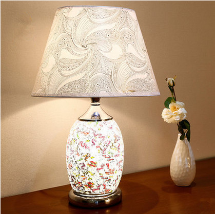 ФОТО European artistic mosaic glass Table Lamps Brief bright PVC shade double switch E27 LED lamp for bedside&narrow table ZLTD091