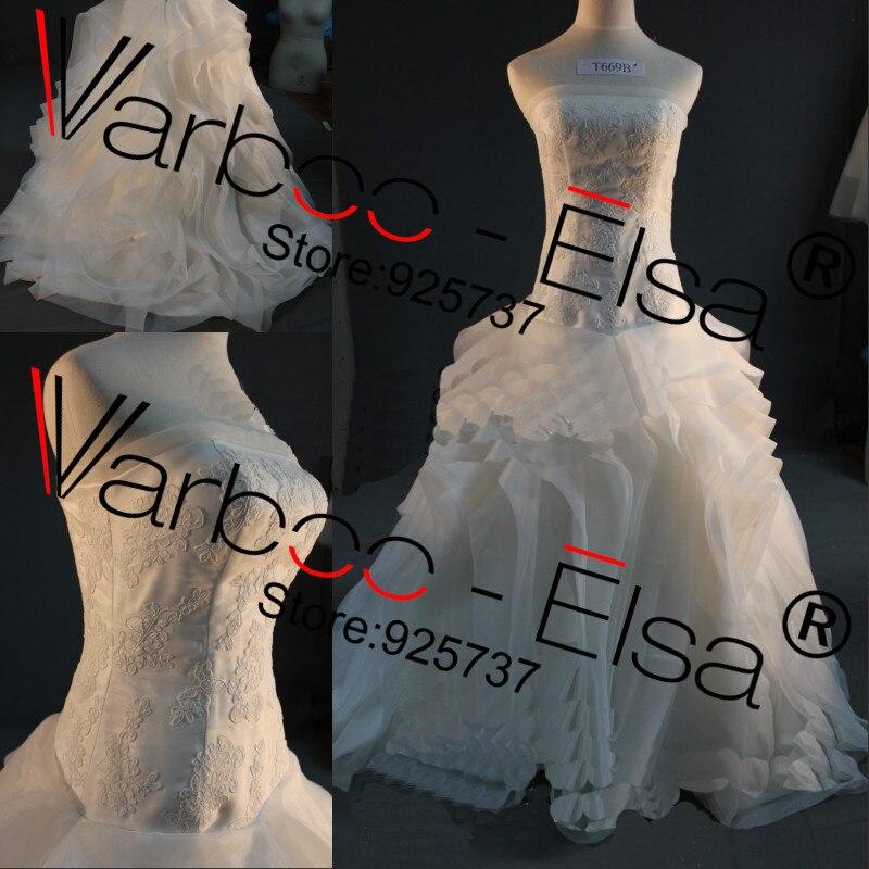 Image 2 - Free shipping Vera off shoulder Fluffy Organza Flower RufflesTop quality bridal Gown plus size Real sample Wedding Dress 2014gown evening dressgown beadeddress wedding gown -
