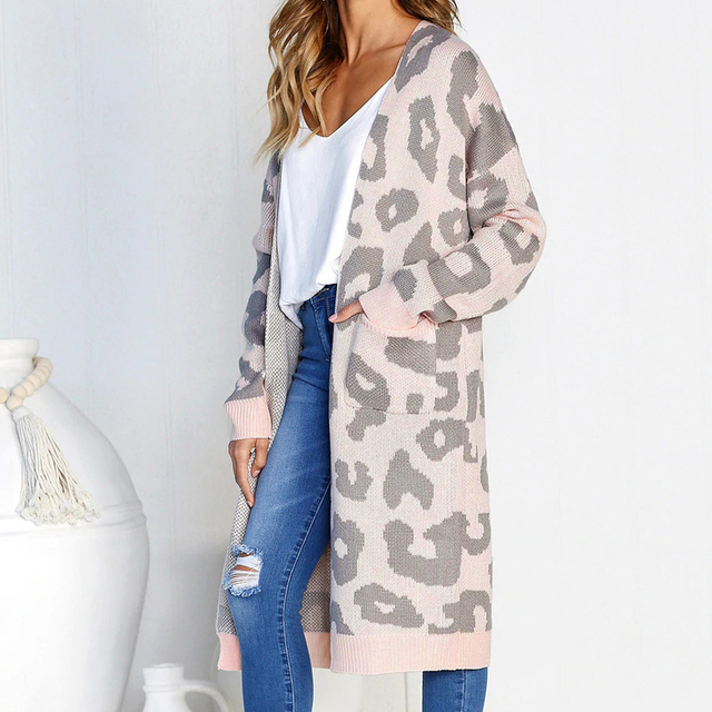 02deb07e38b US $18.99 |2018 Autumn Winter Leopard Print Women Loose Cardigan Sweater  Outerwear Knitted Long Coat Sweater Cardigan Female Wool Sweaters-in ...