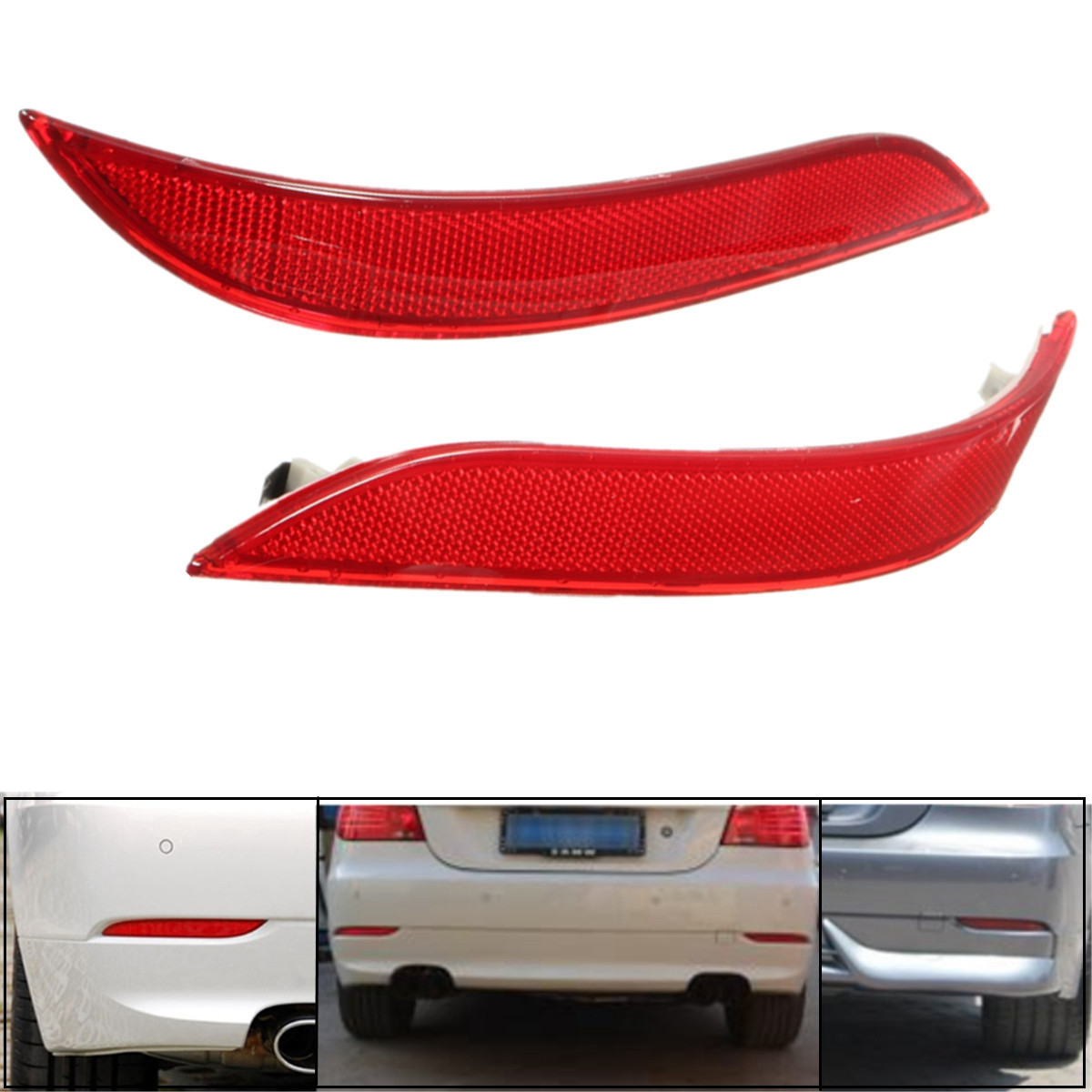 2Pcs Red Rear Left Right Bumper Reflector Tail Lights Bars Brake Parking Warning Bumper Lamb For