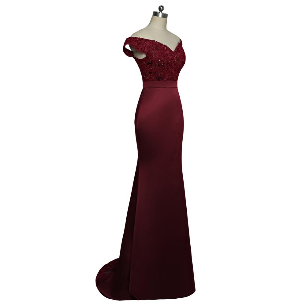 Burgundy Mermaid Sweetheart Cap Sleeves Beaded Long Bridesmaid Dress