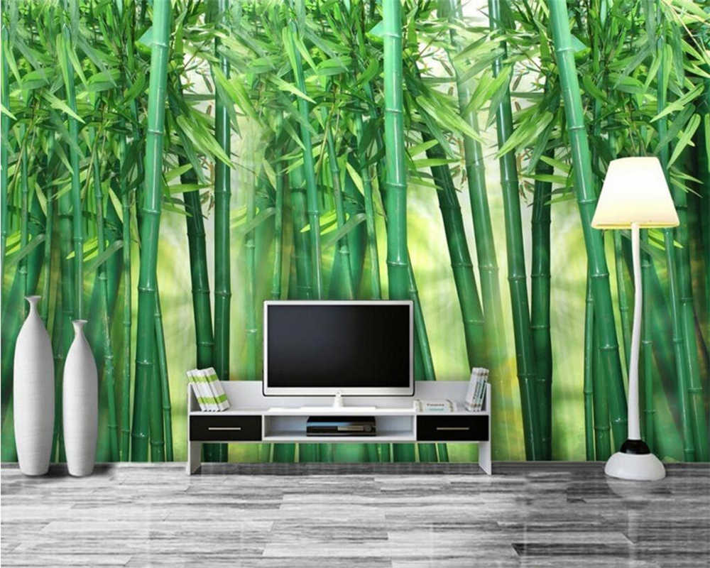 Custom Photo Wallpaper Bamboo Forest Art Wall Painting Living Room TV Background