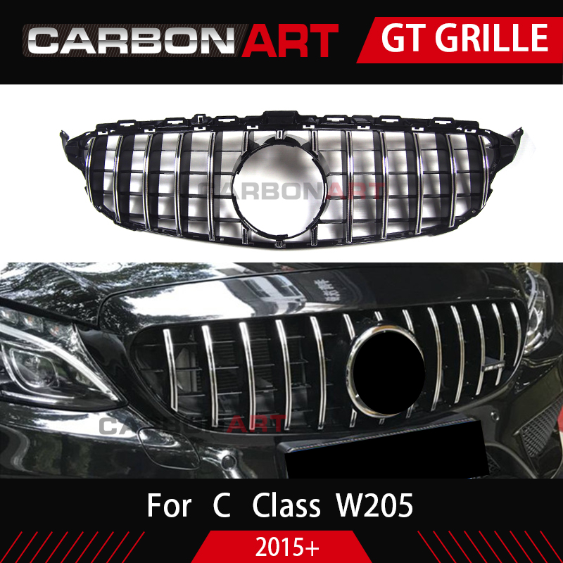Image 4 - Carbonart C Class W205 GT Front Bumper Mesh Grill Grille Fit for mercedes W205 C200 C300 Sports No/with Camera hole-in Racing Grills from Automobiles & Motorcycles