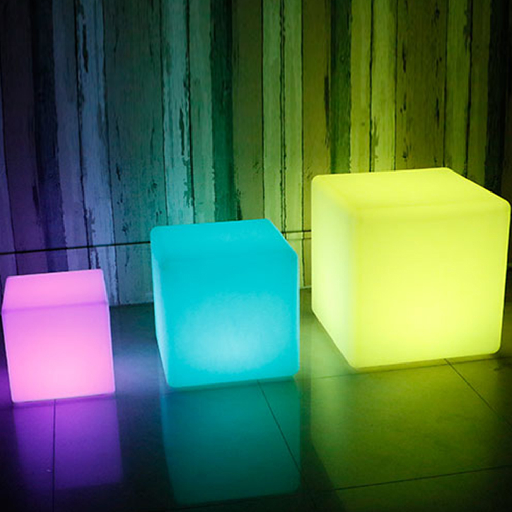 LED luminous cube outdoor luminous furniture creative bar stool remote control colorful charging side stool 15CM led cube chair outdoor furniture plastic white blue red 16coours change flash control by remote led cube seat lighting
