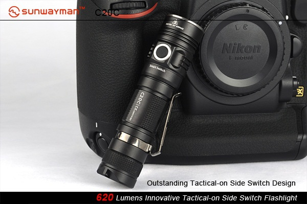 SUNWAYMAN C20C Flashlight CREE XM-L2 LED 620 Lumens Innovative Tactical-on Side Switch Torch 3800 lumens cree xm l t6 5 modes led tactical flashlight torch waterproof lamp torch hunting flash light lantern for camping z93