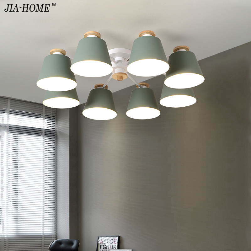 Living Room Chandeliers suction top Lighting grey green blue yellow pink body Wooden Hanging Light Lampshade