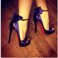 SHOFOO shoes,Fashion novelty free shipping purple cloth, 12.5 cm high heeled sandals, women's sandals. SIZE:34 45