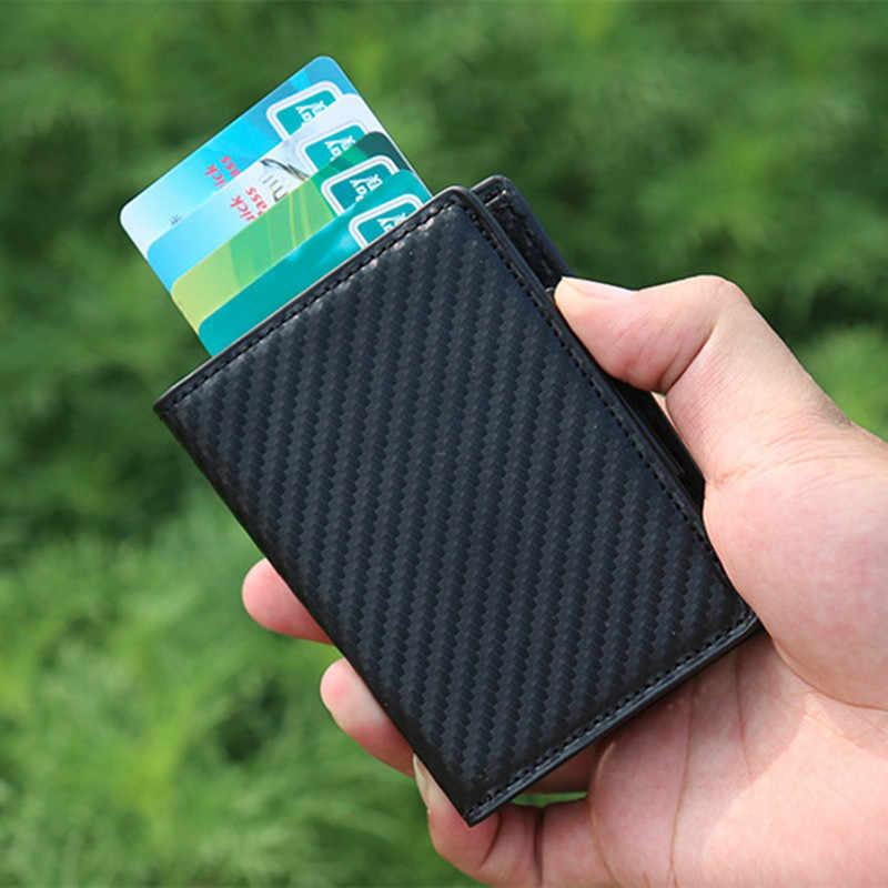 BISI GORO moda Unisex Metal tarjeta de crédito titular con RFID Anti-robo cartera dinero monedero inteligente 7 colores para negocios