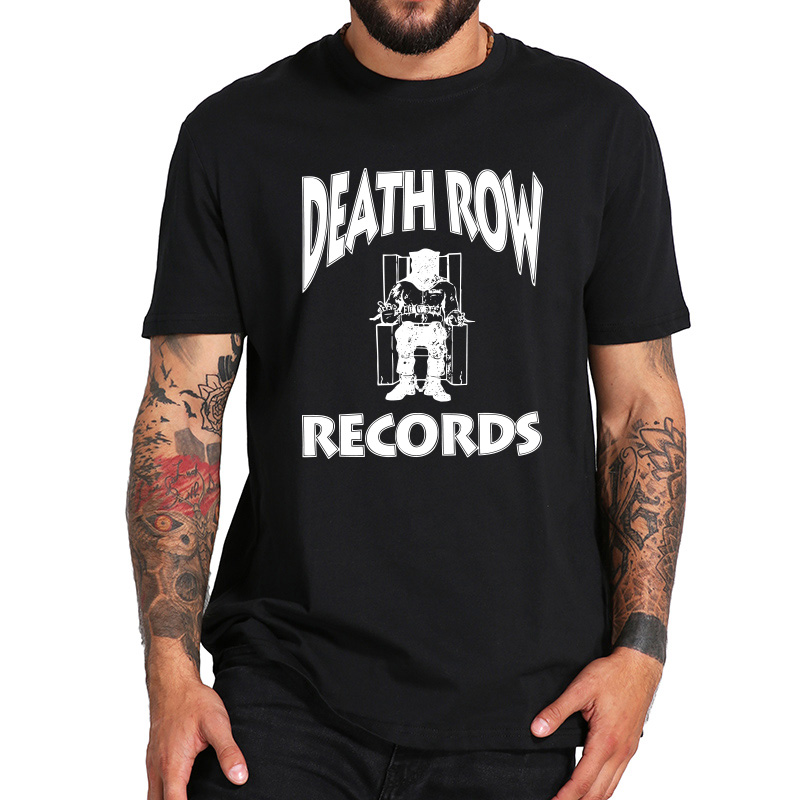 EU Size 100% Cotton Shirt Death Row Records Logo T Shirt Hipster Breathable Fitness Homme O-Neck Camiseta Tops