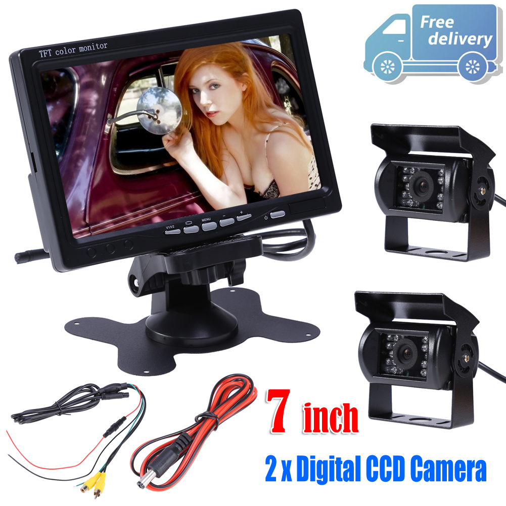 7 TFT LCD Car Rear View Kit 12V Auto Monitor for Headrest Dashboard with 2Pcs Digital CCD Reverse Rearview Camera Car-styling aputure digital 7inch lcd field video monitor v screen vs 1 finehd field monitor accepts hdmi av for dslr