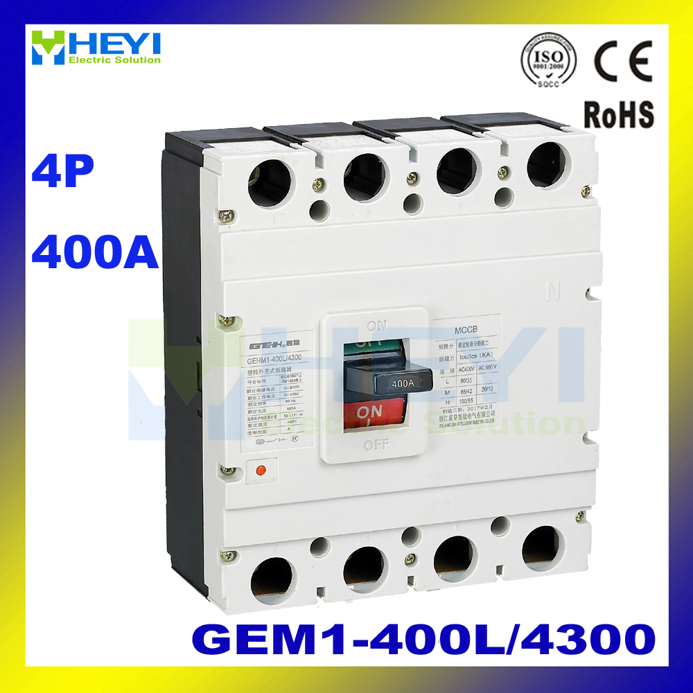 MCCB GEM1-400L/4300 GEM1-400M/4300 GEM1-400L/4300 NEW GEM1-400M/4300 NEW 400VAC 400A ac 4P Molded Case Circuit Breaker 400a 4p nsx new type mccb moulded case circuit breaker
