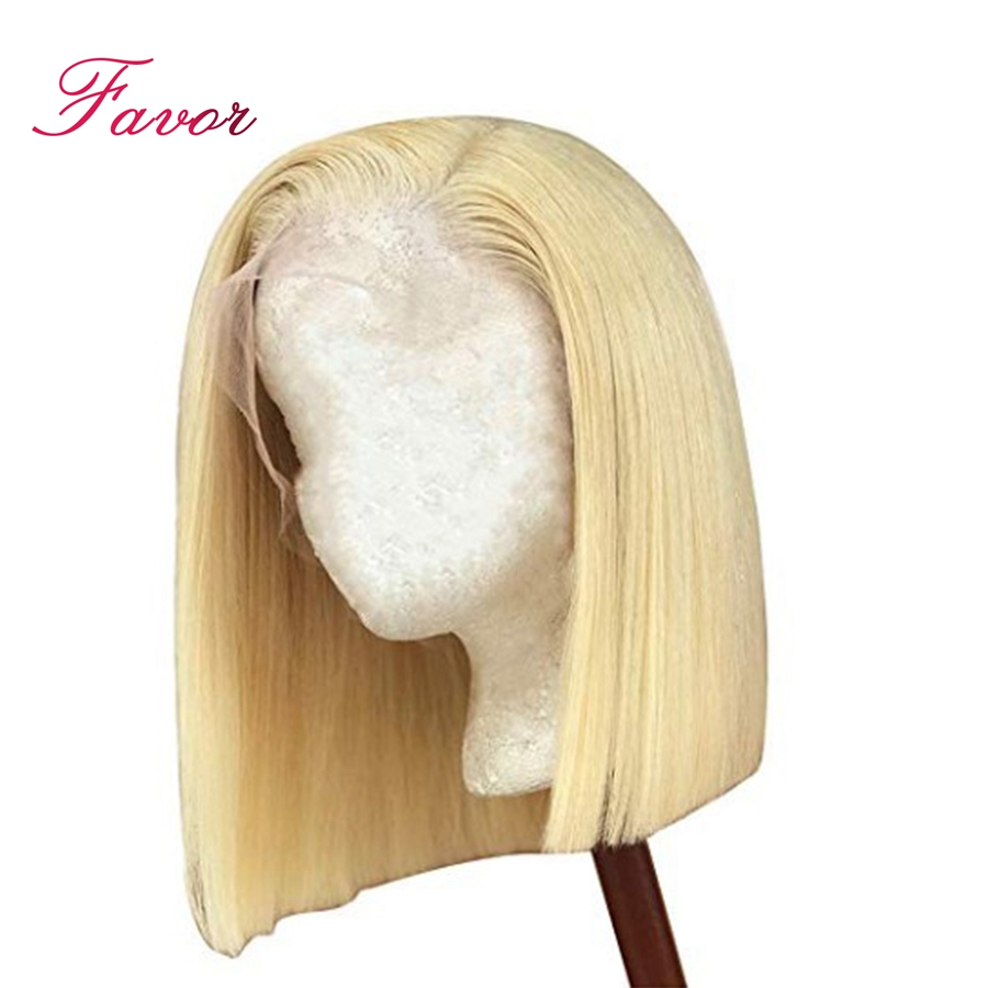 13x6 Straight Lace Front Short Bob Wigs 613 Blonde Remy Brazilian Lace Front Human Hair Wigs