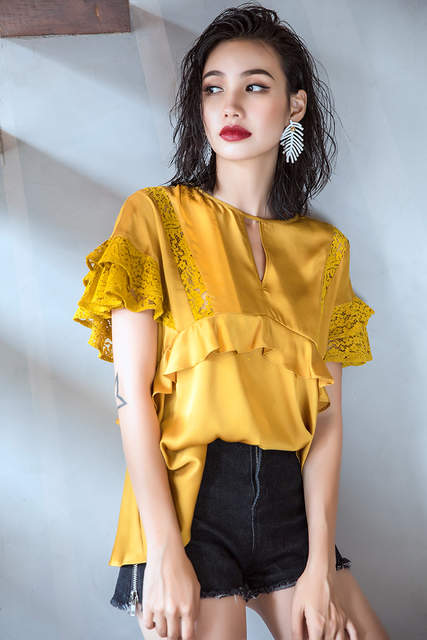 9401bf1aae01a5 Online Shop Cakucool New Designer Short Sleeve Women Blouse Shirt Yellow  Satin Faux Silk Top Blusa Ruffles Lace Patch Elegant Ladies Blusas