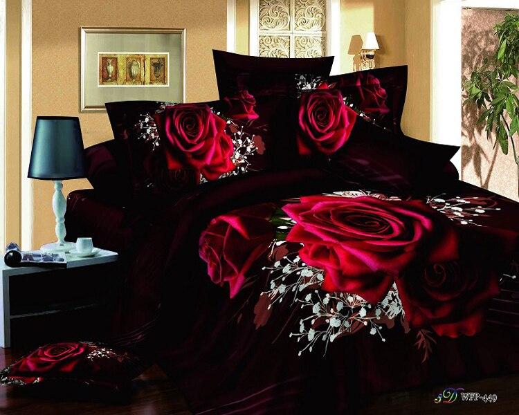 Red rose black 3d queen size modern duvet covers comforters bedroom sets bedspreads bedding comforter bed - coco mis's store