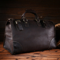 NEWEEKEND Retro Genuine Leather Cowhide Crazy Horse Big Travel Duffel Bag Zipper Crossbody Luggage Bag Handbag for Man 3151