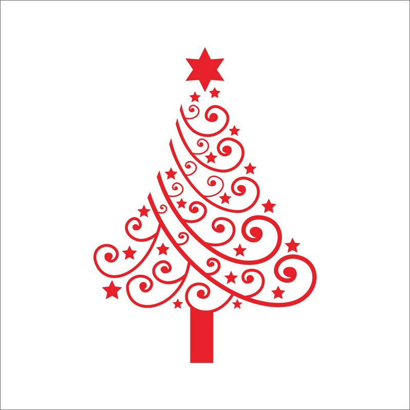 Keythemelife Merry Christmas PVC Wall Stickers Window Decal Tile Stickers Glass Waterproof Wallpaper Christmas Tree Decor DA