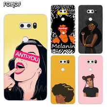 Black Girl Melanin Poppin Painted Pattern Soft Rubber TPU Case For LG Q8 Q7 Q6 G6 G7 G5 G4 V40 V30 V20 V10 Transparent Cover