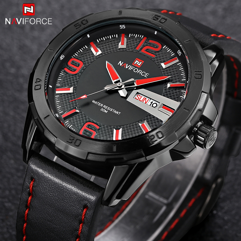 NAVIFORCE Mens Watches Top Brand Luxury Casual Men Watch Leather Strap Sport Waterproof Mens Quartz Wristwatch Relogio Masculino naviforce men watches top brand luxury casual quartz watch dive leather sport wristwatch relojes hombre relogio masculino clock