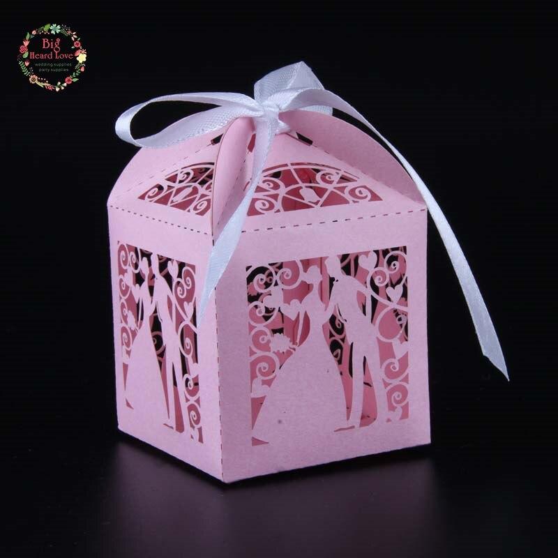 Big Heard Love 50 шт. лазерная резка невесты и жениха Свадебная коробочка для сладостей Подарочная коробка свадебное оформление коробки вечерние поставки - Цвет: pink