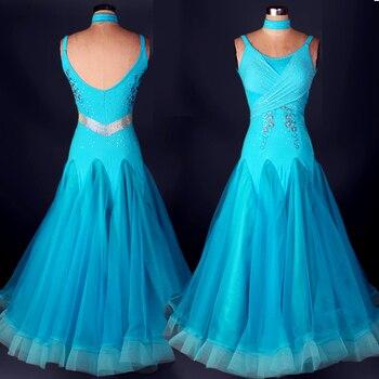 Big swing Luxury rhinestone standard ballroom dress blue/yellow/red waltz modern dance costume performance competition dress