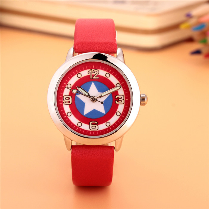 100pcs/lot wholesales hot sales fashion 3D cartoon Captain America students boys children gifts watch quartz leather wristwatch 2