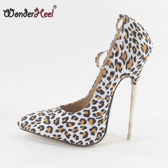 3bdc7f286d0 Wonderheel Extreme high heel 16cm metal heel leopard leather stiletto heel  Sexy fetish ankle strap pointed toe sexy women pumps