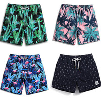 Men printed Beach Shorts Swimwear Shorts Surf Wear Board Shorts Summer Swimsuit Bermuda Beachwear Cactus Flamingo Trunks Short