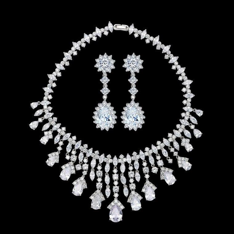 Breloque ensemble de bijoux de mariage complet AAA cubique Zircon collier et boucles d'oreilles ensemble de bijoux pour les femmes accessoires de fête